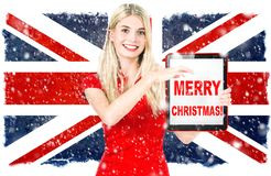 Woman british national flag Merry Christmas royalty free illustration