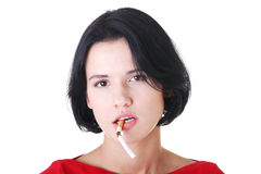 Young woman with broken cigarette. Stock Photography