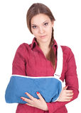Young woman with broken hand Royalty Free Stock Images