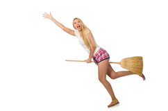 The young woman with broom isolated on white Stock Photos
