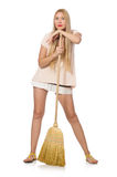 The young woman with broom isolated on white Royalty Free Stock Photos