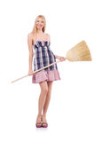 Young woman with broom Stock Photos