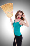 Young woman with broom Stock Image