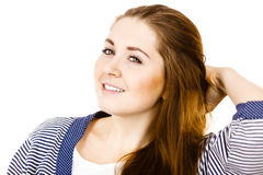 Young woman with brown hair wearing dressing gown Stock Image