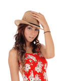 Young woman with a brown hat. Stock Photography