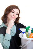 Young woman with bucket full of cleaning powder Stock Photo