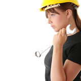 Young woman builder Stock Image