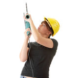 Young woman builder with driller Royalty Free Stock Photo