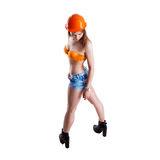Young woman builder looking down Stock Images