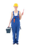 Young woman builder in workwear with toolbox and screwdriver iso. Lated on white background Royalty Free Stock Photo