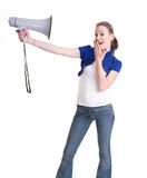 Young woman with bullhorn Royalty Free Stock Photo