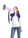 Young woman with bullhorn Stock Photos