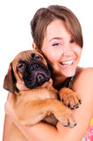Young woman with bullmastiff Stock Image