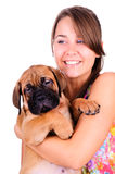 Young woman with bullmastiff Royalty Free Stock Photos