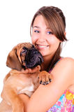Young woman with bullmastiff Stock Images