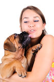 Young woman with bullmastiff Royalty Free Stock Image