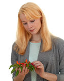 Young woman with bunch of chilli, pepperoni Royalty Free Stock Photos