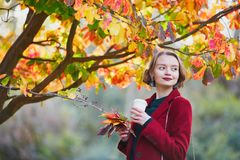 Young woman with bunch of colorful autumn leaves and coffee Stock Images