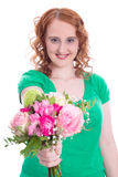 Young woman with bunch of flowers isolated on Mother's Day Royalty Free Stock Photography