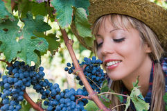Young woman and bunch of grapes Royalty Free Stock Photos