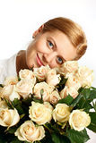 Young woman with bunch of roses Stock Photo