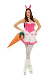 Young woman in bunny suit Royalty Free Stock Photos