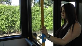 Young woman in the bus. Video stock video