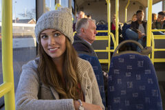 Young woman on the bus Royalty Free Stock Photos