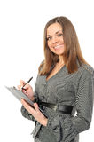 Young woman in business attire holding a planner/ Royalty Free Stock Photos