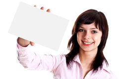 Young woman with business card. On a white background Stock Image