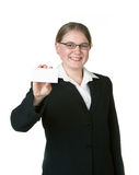 Young woman with business card Royalty Free Stock Images
