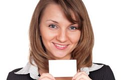 Young woman with business card Royalty Free Stock Photography