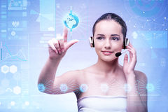 The young woman in business computing concept Stock Photo