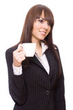 Young woman business with cup of tea Royalty Free Stock Photo