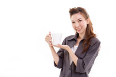 Young woman business executive with coffee or tea cup Royalty Free Stock Images