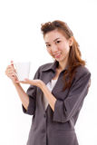 Young woman business executive with coffee or tea cup royalty free stock photo