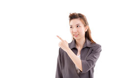 Young woman business executive pointing up something Royalty Free Stock Photography