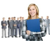 Young woman and business men Royalty Free Stock Photo