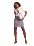 Young Woman in Business Outfit skirt and top. Young black woman in grey skirt and white top Stock Photos