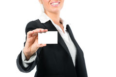 Young woman with a businesscard Stock Image
