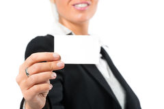 Young woman with a businesscard Royalty Free Stock Photo