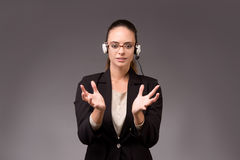 The young woman businesswoman pressing virtual buttons. Young woman businesswoman pressing virtual buttons Stock Image