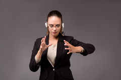 The young woman businesswoman pressing virtual buttons. Young woman businesswoman pressing virtual buttons Stock Photo
