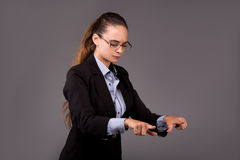 The young woman businesswoman pressing virtual buttons Stock Photo