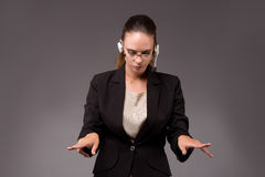 The young woman businesswoman pressing virtual buttons Royalty Free Stock Photo