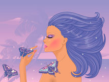 Young woman with butterflies Royalty Free Stock Images