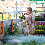Young woman buying flowers at a garden center Royalty Free Stock Photos