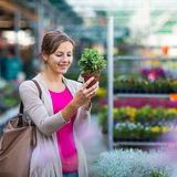 Young woman buying flowers at a garden center Stock Image