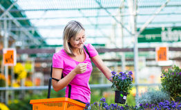 Young woman buying flowers at a garden center Royalty Free Stock Photography
