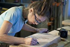 Young woman cabinet making. Royalty Free Stock Image